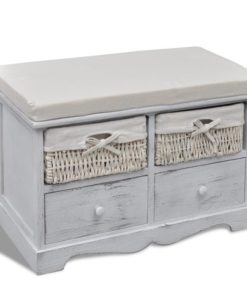 vidaXL White Wooden Storage Bench 2 Weaving Baskets Drawers