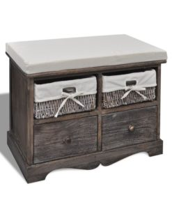 vidaXL Brown Wooden Storage Bench 2 Weaving Baskets Drawers