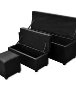 vidaXL Black Artificial Leather Storage Bench Set Footrest 3 pcs