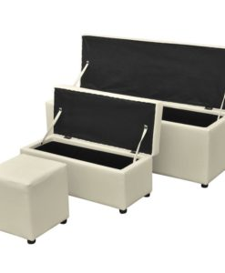 vidaXL Three Piece Storage Bench Set with Footrest Artificial Leather Cream