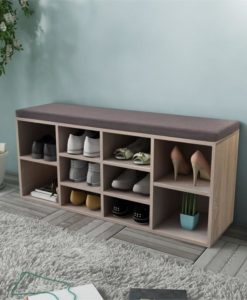 vidaXL Shoe Storage Bench 10 Compartments Oak Colour