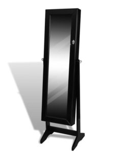 vidaXL Standing Jewelry Cabinet with Mirror Black