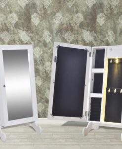 vidaXL White Jewelry Cabinet with LED Light and Mirror Door