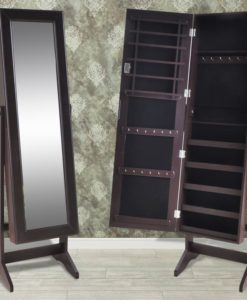 vidaXL Brown Free Standing Jewelry Cabinet with Mirror