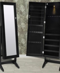 vidaXL Black Free Standing Jewelry Cabinet with LED Light and Mirror Door