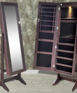 vidaXL Brown Free Standing Jewelry Cabinet with LED Light and Mirror Door