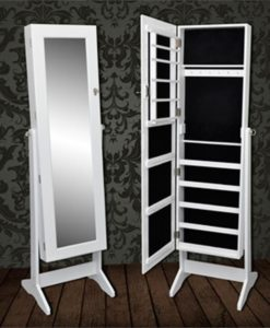 vidaXL Standing Jewelry Cabinet with Mirror