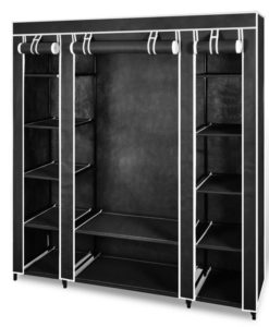 vidaXL Fabric Cabinet with Compartments 45 x 150 x176 cm Black