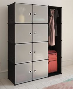 vidaXL Modular Cabinet with 9 Compartments Black and White 37 x 115 150 cm