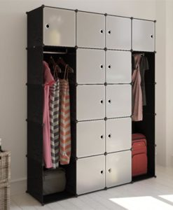 vidaXL Modular Cabinet with 14 Compartments Black and White 37 x 150 190 cm