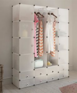 vidaXL Modular Cabinet with 18 Compartments White 37 x 150 190 cm