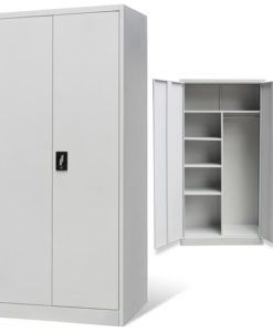 vidaXL Metal Locker-style Cabinet 2 Doors Grey