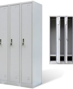vidaXL Metal Locker Cabinet 3 Doors Grey