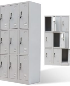 vidaXL Metal Locker Cabinet 9 Doors Grey