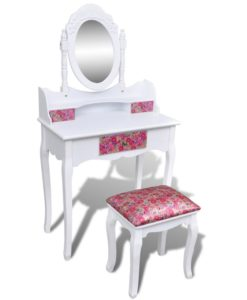 vidaXL Dressing Table with Mirror and Stool Flower Pattern