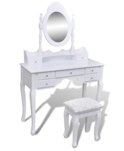 vidaXL Dressing Table with Mirror and Stool 7 Drawers White XXL