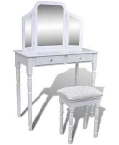 vidaXL Dressing Table with 3 In 1 Mirror and Stool 2 Drawers White