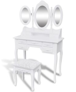 vidaXL Dressing Table with Stool and 3 Mirrors