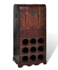 vidaXL Wooden Wine Rack for 9 bottles Storage Trunk with Drawer