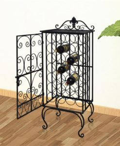 vidaXL Metal Wine Cabinet Rack Stand for 28 Bottles