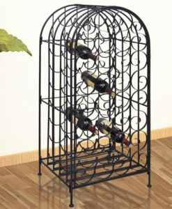 vidaXL Metal Wine Cabinet Rack Stand for 35 Bottles