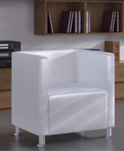 vidaXL Modern White Faux Leather Tub Design Club Armchair Wh
