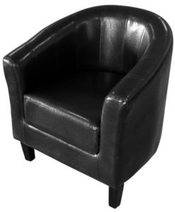 vidaXL Black Artificial Leather Tub Chair