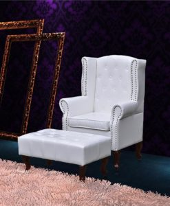 vidaXL Wingback chair with ottoman white