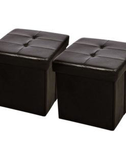 vidaXL Brown Rectangular Faux Leather Fold Storage Seat Bench Stool Ottoman