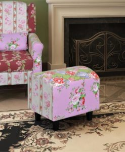 vidaXL Patchwork Foot Stool Floral Style