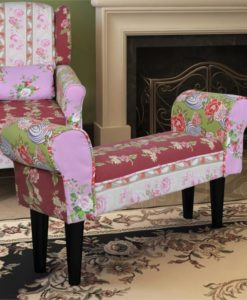 vidaXL Patchwork Bench Floral Style