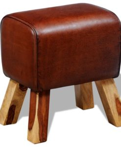 vidaXL Real Leather Stool Brown 40 x 30 45 cm