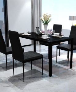 vidaXL Black Dining Table Set with 4 Chairs Comteporary Design