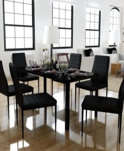 vidaXL Dining Set 6 Black Chairs + 1 Table Contemporary Design