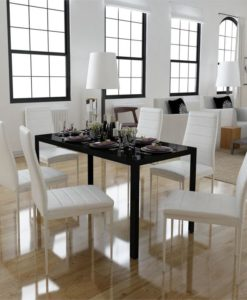 vidaXL Dining Set 6 White Chairs + 1 Table Contemporary Design