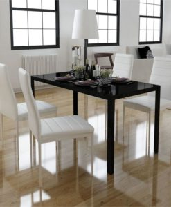 vidaXL Dining Set 4 White Chairs + 1 Table Contemporary Design