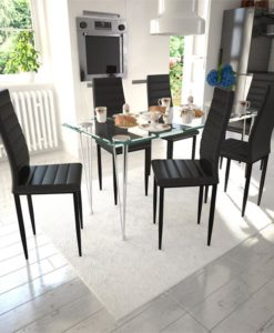 vidaXL Dining Set Black Slim Line Chair 6 pcs with 1 Glass Table