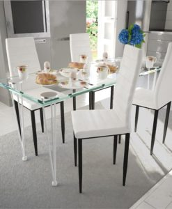 vidaXL Dining Set White Slim Line Chair 4 pcs with 1 Glass Table