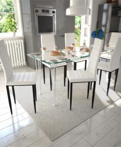 vidaXL Dining Set White Slim Line Chair 6 pcs with 1 Glass Table