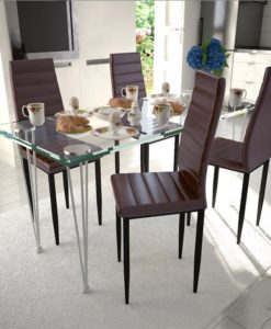 vidaXL Dining Set Brown Slim Line Chair 4 pcs with 1 Glass Table