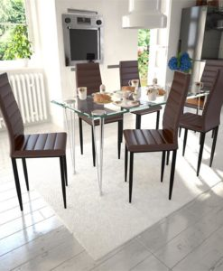vidaXL Dining Set Brown Slim Line Chair 6 pcs with 1 Glass Table