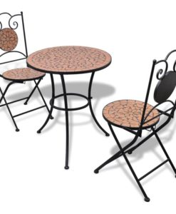 vidaXL Mosaic Bistro Table 60 cm with 2 Chairs Terracotta