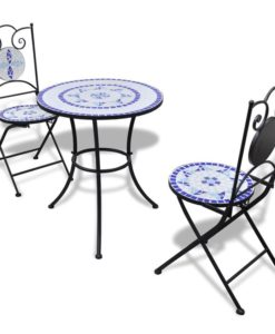 vidaXL Mosaic Bistro Table 60 cm with 2 Chairs Blue / White
