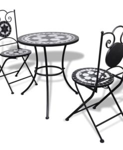 vidaXL Mosaic Bistro Table 60 cm with 2 Chairs Black / White