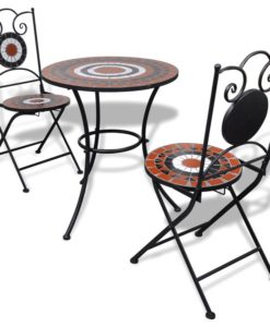 vidaXL Mosaic Bistro Table 60 cm with 2 Chairs Terracotta / White