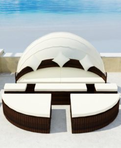 vidaXL Brown 2-in-1 Poly Rattan Sunbed with Canopy