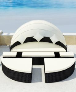 vidaXL Black 2-in-1 Poly Rattan Sunbed with Canopy