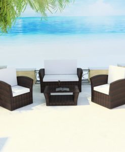 vidaXL Brown Outdoor Poly Rattan Lounge Set with Cushions