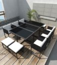 vidaXL Black Poly Rattan Outdoor 10 Person Dining Set