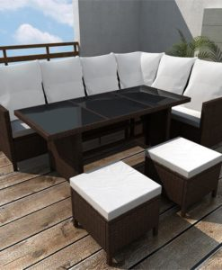 vidaXL Poly Rattan 8 Person Lounge Set Brown